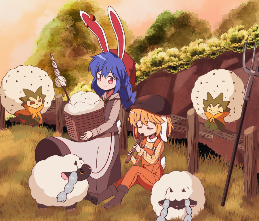 2girls alternate_costume animal_ears apron basket blue_hair boots braided_ponytail brooch brown_footwear brown_shirt brown_skirt buna_shimeji_(keymush) bunny_tail character_request cliff closed_eyes closed_umbrella ear_clip fence flat_cap floppy_ears gen_8_pokemon gradient_sky grass hat head_scarf holding holding_basket instrument jewelry knees_up light_smile long_hair long_sleeves looking_at_viewer multiple_girls music on_ground orange_overalls outdoors overalls playing_instrument pokemon pokemon_(creature) rabbit_ears recorder red_eyes red_sky ringo_(touhou) seiran_(touhou) shirt sitting skirt sky standing striped striped_shirt tail touhou tree twilight umbrella vertical-striped_shirt vertical_stripes waist_apron wooden_fence wooloo