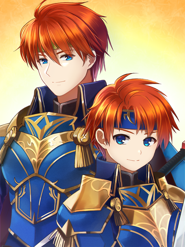 2boys armor blue_eyes cape cosplay durandal_(fire_emblem) eliwood_(fire_emblem) eliwood_(fire_emblem)_(cosplay) father_and_son fire_emblem fire_emblem:_fuuin_no_tsurugi fire_emblem:_rekka_no_ken fire_emblem:_the_binding_blade fire_emblem:_the_blazing_blade fire_emblem_heroes gloves headband intelligent_systems looking_at_viewer male_focus multiple_boys nintendo potiko_(3110) redhead roy_(fire_emblem) short_hair simple_background smile super_smash_bros.