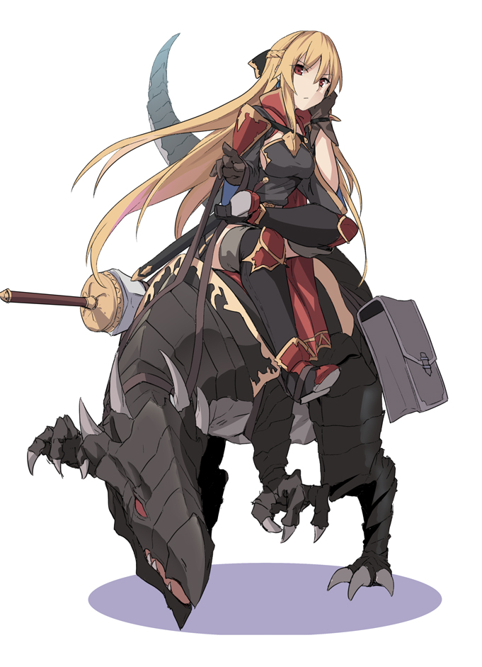1girl armor bag black_dress bow braid breasts character_request commentary_request copyright_request dinosaur dress eyebrows_visible_through_hair gloves long_hair looking_at_viewer medium_breasts shiseki_hirame simple_background sitting sword weapon white_background