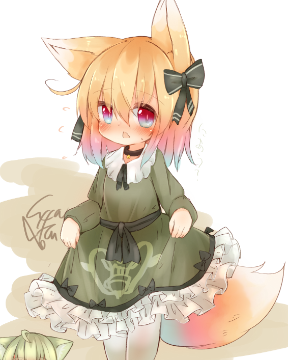2girls :< animal_ear_fluff animal_ears bangs blush bow collared_dress commentary_request dress eyebrows_visible_through_hair fox_ears fox_girl fox_tail frilled_dress frills green_bow green_dress green_hair hair_between_eyes hair_bow long_sleeves multiple_girls original pantyhose parted_lips red_eyes signature sleeves_past_wrists solo_focus sunapua sweat tail triangle_mouth white_background white_legwear