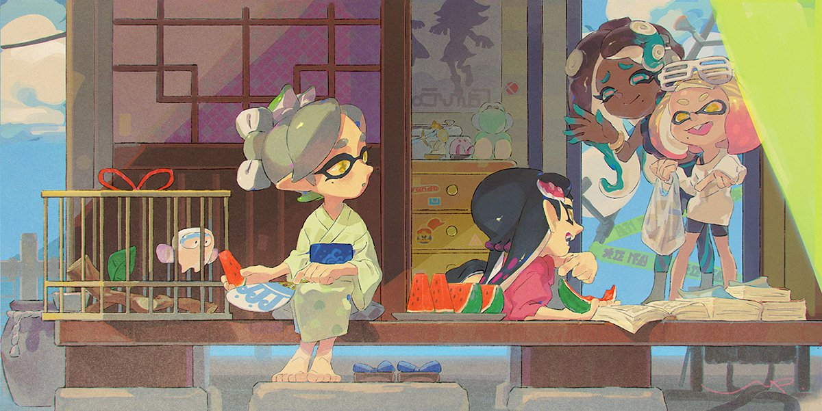 4girls amiibo aori_(splatoon) bag barefoot book casual character_doll character_print doorway eyewear_on_head face_print fan fangs food footwear_removed fruit hal_laboratory_inc. hime_(splatoon) hoshi_no_kirby hotaru_(splatoon) iida_(splatoon) japanese_clothes kimono king_dedede kirby kirby_(series) link lip_(lih8) logo_print looking_at_another lying mario_(series) mole mole_under_mouth multicolored_hair multiple_girls nintendo nintendo_ead octopus_girl on_stomach open_book open_mouth poster reading shopping_bag shorts sitting smash_ball smile splatoon_(series) splatoon_1 splatoon_2 squid_girl summer super_mario_bros. super_smash_bros. tentacle_hair the_legend_of_zelda two-tone_hair watermelon wii_u yoshi yoshi's_island