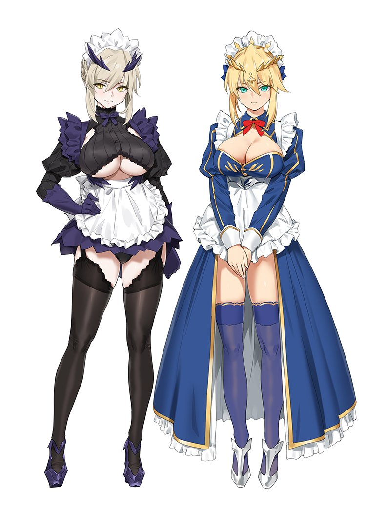2girls ahoge alternate_costume apron artoria_pendragon_(all) artoria_pendragon_(lancer) artoria_pendragon_(lancer_alter) bangs black_dress black_legwear blue_dress blue_legwear blush braid breasts closed_mouth crown dress enmaided fate/grand_order fate_(series) french_braid frills full_body green_eyes hair_between_eyes hand_on_hip high_heels horns large_breasts legs long_hair long_sleeves looking_at_viewer maid maid_headdress multiple_girls pale_skin puffy_sleeves sidelocks simple_background smile swept_bangs thigh-highs thighs under_boob waist_apron white_background yang-do yellow_eyes
