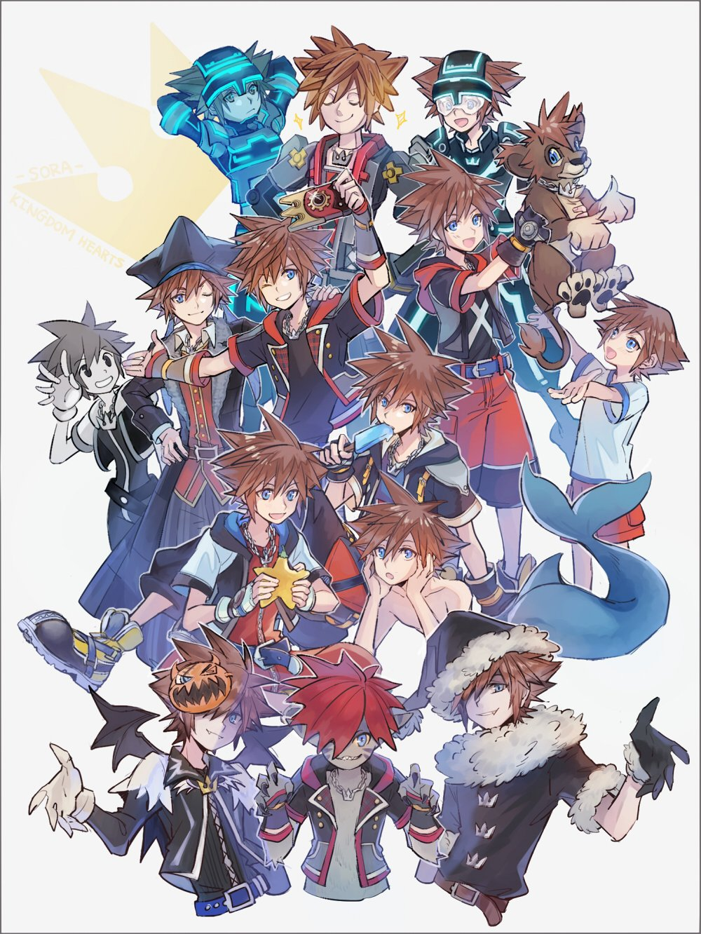 age_progression alternate_form belt black_gloves blue_eyes brown_hair claws fangs fingerless_gloves fingernails gloves hair_over_one_eye hat helmet highres hood hood_down jacket jewelry kingdom_hearts kingdom_hearts_3d_dream_drop_distance kingdom_hearts_i kingdom_hearts_ii kingdom_hearts_iii lion mask mask_on_head mask_over_one_eye merman monochrome monster_boy multiple_persona necklace open_mouth paopu_fruit pirate_hat redhead santa_costume santa_hat sharp_fingernails sharp_teeth shorts smile sora_(kingdom_hearts) sparkle spiky_hair symbol_commentary teeth white_gloves younger yurichi_(artist)