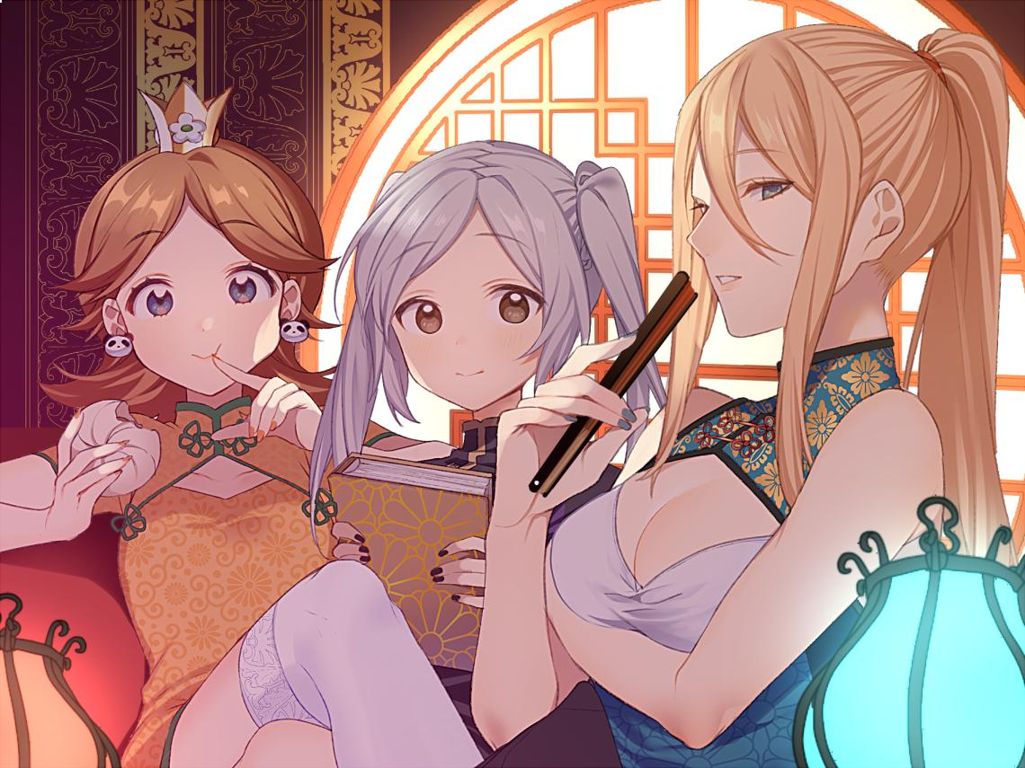 3girls bare_shoulders blonde_hair blue_eyes breasts brown_hair bun_cover china_dress chinese_clothes cleavage_cutout dress earrings female_my_unit_(fire_emblem:_kakusei) fire_emblem fire_emblem:_kakusei fire_emblem_awakening high_ponytail intelligent_systems long_hair looking_at_viewer mario_(series) metroid moe mole mole_under_mouth multiple_girls my_unit_(fire_emblem:_kakusei) nintendo nintendo_ead panda pelvic_curtain ponytail princess_daisy red_dress reflet retro_studios robin_(fire_emblem) robin_(fire_emblem)_(female) ryon_(ryonhei) samus_aran side_slit sleeveless super_mario_land super_smash_bros. super_smash_bros._ultimate super_smash_bros_brawl twintails white_hair