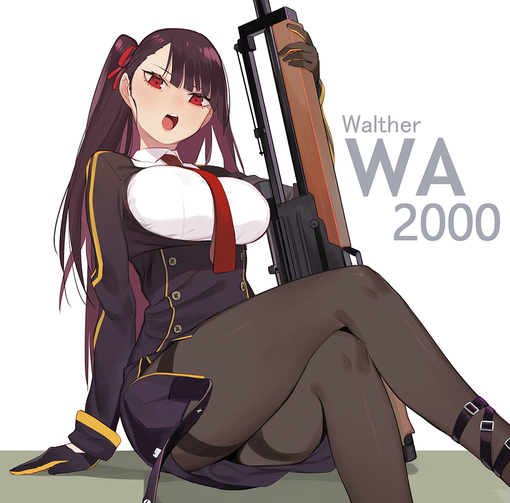 1girl ankle_strap arm_at_side asymmetrical_bangs bangs black_gloves breasts brown_legwear bullpup crossed_legs framed_breasts girls_frontline gloves gun hair_ribbon juz large_breasts long_hair looking_at_viewer necktie one_side_up open_mouth pantyhose purple_hair red_eyes ribbon rifle sitting sniper_rifle solo thighband_pantyhose wa2000_(girls_frontline) walther walther_wa_2000 weapon