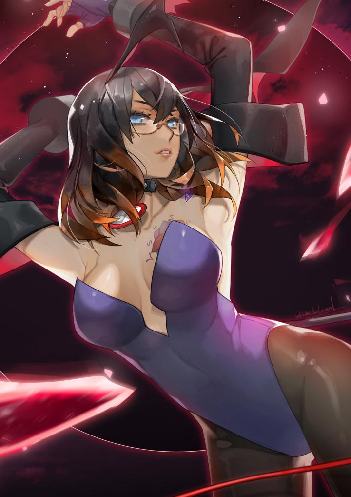 1girl animal_ears bare_shoulders black_hair bloodstained:_ritual_of_the_night blue_eyes breasts brown_hair bunny_girl bunny_tail bunnysuit cosplay glasses gradient_hair hair_between_eyes hair_ornament horns ian_olympia leotard looking_at_viewer miriam_(bloodstained) moon multicolored_hair night pantyhose rabbit_ears short_hair smile solo stained_glass tail tattoo