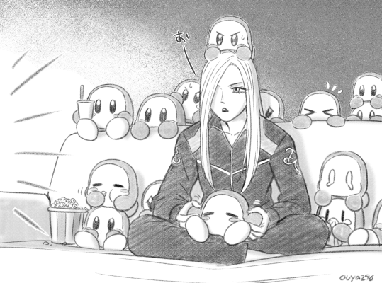 >_< 1girl 6+others bayonetta bayonetta_2 behind_another blush_stickers bucket closed_eyes commentary_request couch crying crying_with_eyes_open cup drinking_straw eating food greyscale hal_laboratory_inc. handkerchief hoshi_no_kirby indian_style jeanne_(bayonetta) kirby_(series) long_hair monochrome multiple_others nintendo ouya_(maboroshimori) platinum_games_inc. popcorn sega sitting sitting_on_head sitting_on_lap sitting_on_person sora_(company) super_smash_bros. sweatdrop tears track_suit twitter_username waddle_dee watching_television white_hair |_|