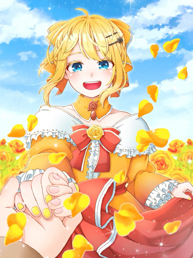 1girl :d aku_no_musume_(vocaloid) blonde_hair blue_eyes blue_sky blurry blush bow capelet choker clouds collarbone colored_eyelashes depth_of_field dress dress_grab evillious_nendaiki flower frilled_sleeves frills hair_bow hair_ornament hairclip holding_hand jewelry juliet_sleeves kagamine_rin kokura_(6131228) long_sleeves looking_at_viewer open_mouth petals pov pov_hands puffy_sleeves riliane_lucifen_d'autriche rose rose_hair_ornament rose_petals sidelocks skirt_hold sky smile solo_focus sparkle vocaloid wide_sleeves yellow_dress yellow_flower yellow_nails yellow_rose