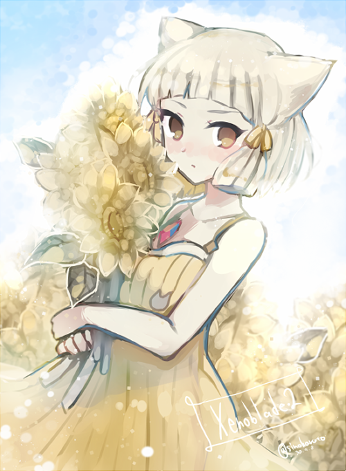 1girl animal_ears bare_arms bare_shoulders brown_eyes cat_ears closed_mouth collarbone copyright_name dress flower hair_ribbon holding holding_flower leaf niyah ribbon shino_haruto short_hair silver_hair solo twitter_username xenoblade_(series) xenoblade_2 yellow_dress yellow_flower yellow_ribbon