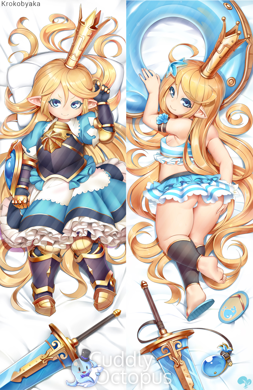 1girl armor armored_dress artist_name bed_sheet bikini bikini_skirt blonde_hair blue_eyes breastplate charlotta_fenia commentary crown cuddly_octopus dakimakura dress flip-flops frilled_dress frills gauntlets granblue_fantasy greaves hand_on_own_ass harvin highres innertube krokobyaka long_hair looking_at_viewer looking_back lying multiple_views on_back on_stomach pillow pointy_ears puffy_short_sleeves puffy_sleeves sandals short_sleeves skirt smile striped striped_bikini striped_skirt swimsuit sword very_long_hair watermark weapon