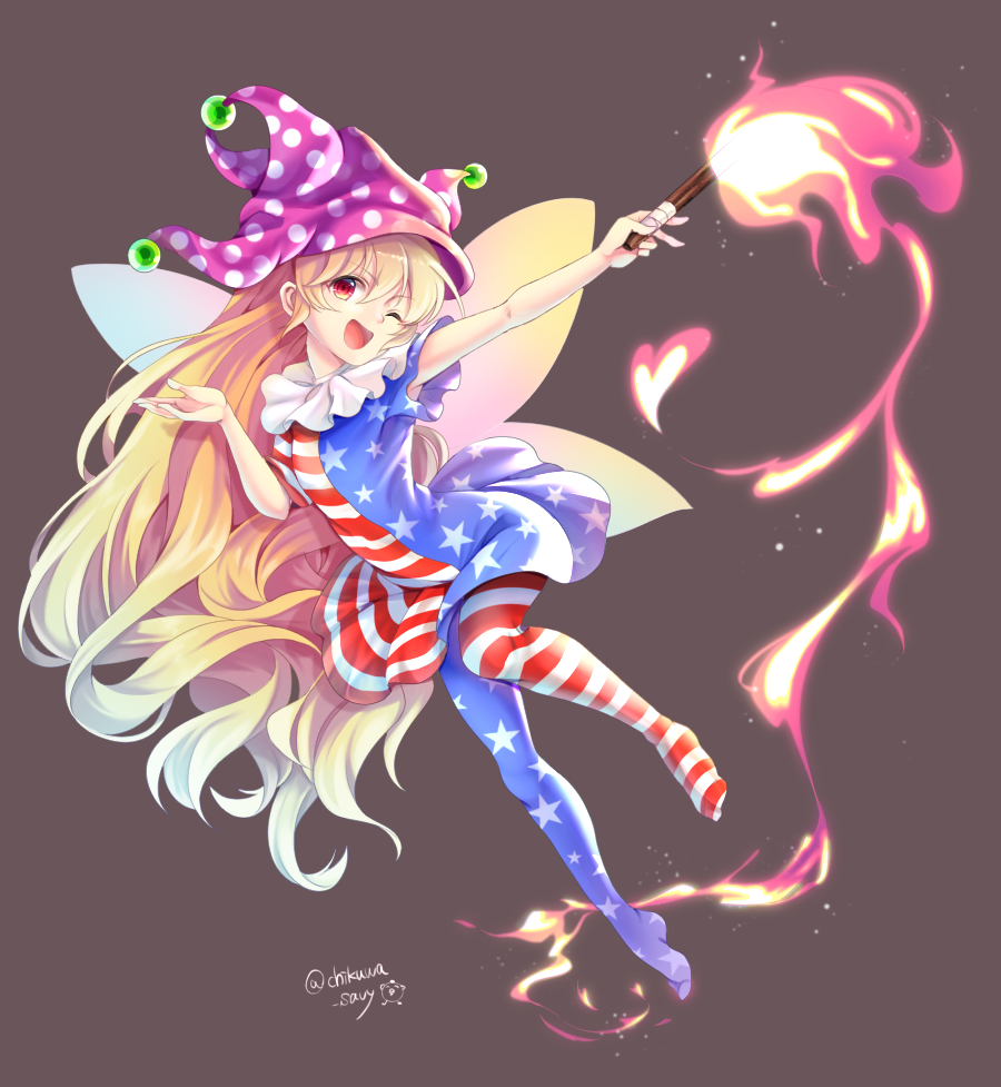 1girl ;d american_flag_dress american_flag_legwear arm_up artist_name bangs blonde_hair blue_dress blue_legwear chikuwa_savi clownpiece commentary_request dress eyebrows_visible_through_hair fairy_wings full_body grey_background hair_between_eyes hand_up hat head_tilt heart holding holding_torch jester_cap long_hair looking_at_viewer neck_ruff no_shoes one_eye_closed open_mouth pantyhose polka_dot polka_dot_hat purple_headwear red_dress red_eyes red_legwear short_dress short_sleeves simple_background smile solo star star_print striped striped_dress striped_legwear torch touhou twitter_username very_long_hair white_dress white_legwear wings