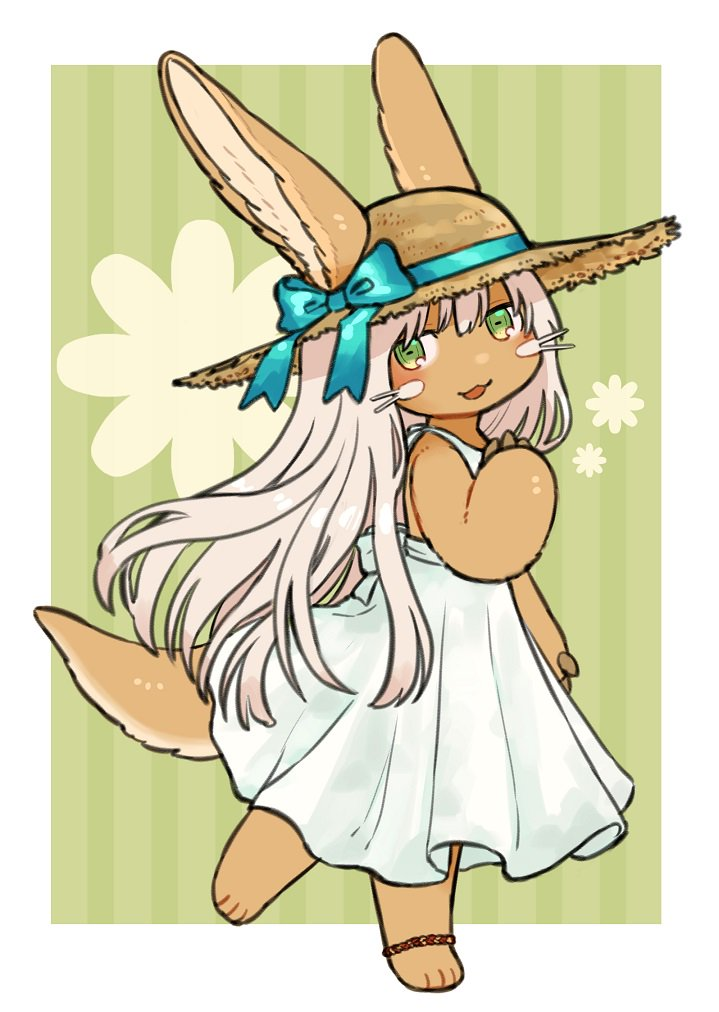 1other :3 :d alternate_costume alternate_hair_length alternate_hairstyle ambiguous_gender animal_ear_fluff animal_ears aqua_ribbon bangs commentary_request dress ears_through_headwear furry green_background green_eyes hair_between_eyes hat hat_ribbon kawasemi27 long_hair looking_at_viewer made_in_abyss nanachi_(made_in_abyss) open_mouth paws ribbon simple_background smile solo straw_hat striped striped_background tail vertical-striped_background vertical_stripes whiskers white_dress white_hair