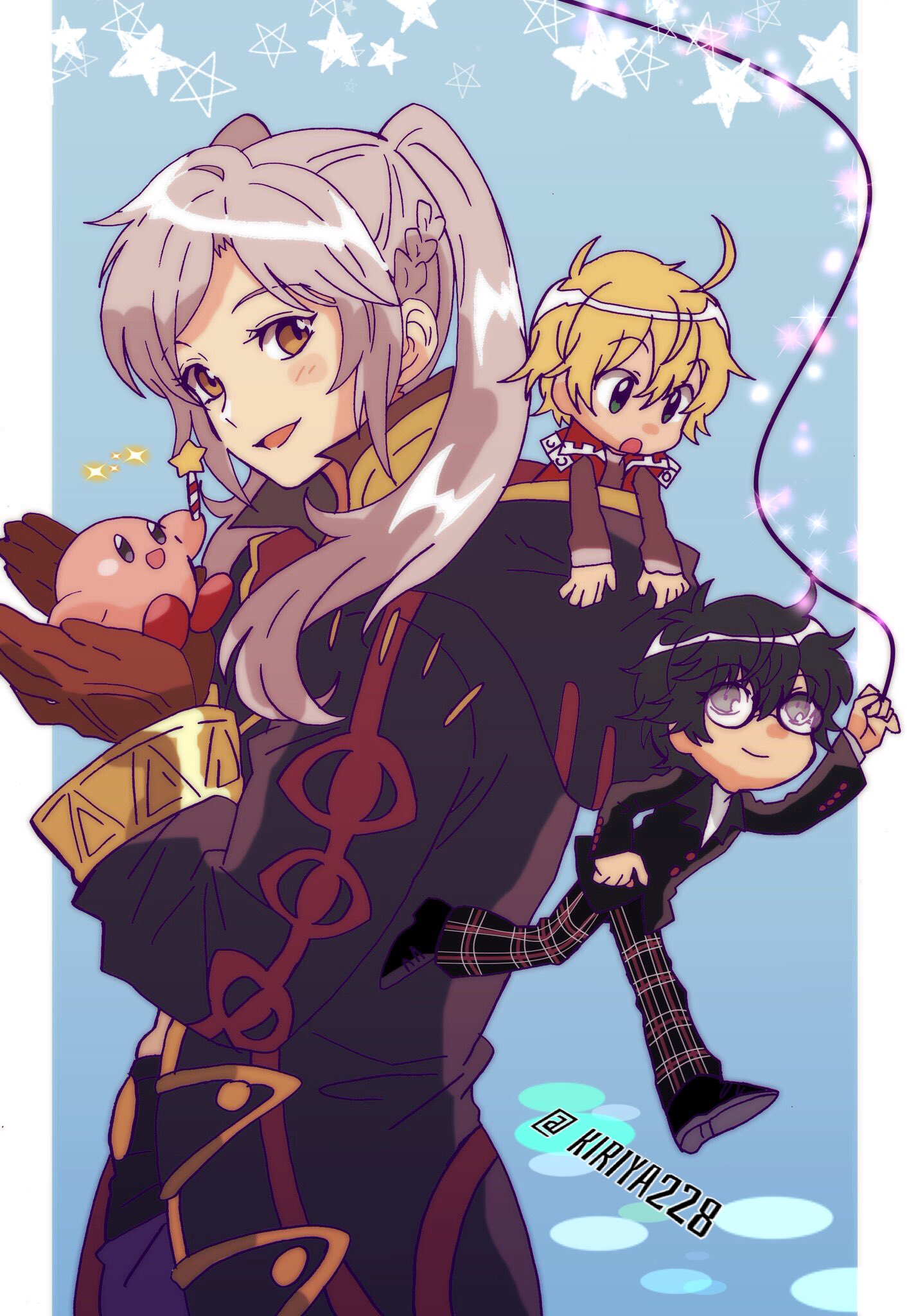 1girl 1other 2boys amamiya_ren atlus black_hair blonde_hair blue_eyes blush chibi coat female_my_unit_(fire_emblem:_kakusei) fire_emblem fire_emblem:_kakusei fire_emblem_awakening fire_emblem_heroes glasses gloves hal_laboratory_inc. highres hoshi_no_kirby human intelligent_systems kirby kirby_(series) kiriya_(552260) kurusu_akira long_hair megami_tensei monolith_soft multiple_boys my_unit_(fire_emblem:_kakusei) nintendo open_mouth pants persona persona_5 pink_puff_ball plaid plaid_pants reflet robin_(fire_emblem) robin_(fire_emblem)_(female) school_uniform short_hair shulk shuujin_academy_uniform smile sora_(company) star super_smash_bros. super_smash_bros._ultimate super_smash_bros_for_wii_u_and_3ds twintails uniform white_hair xenoblade_(series) xenoblade_1