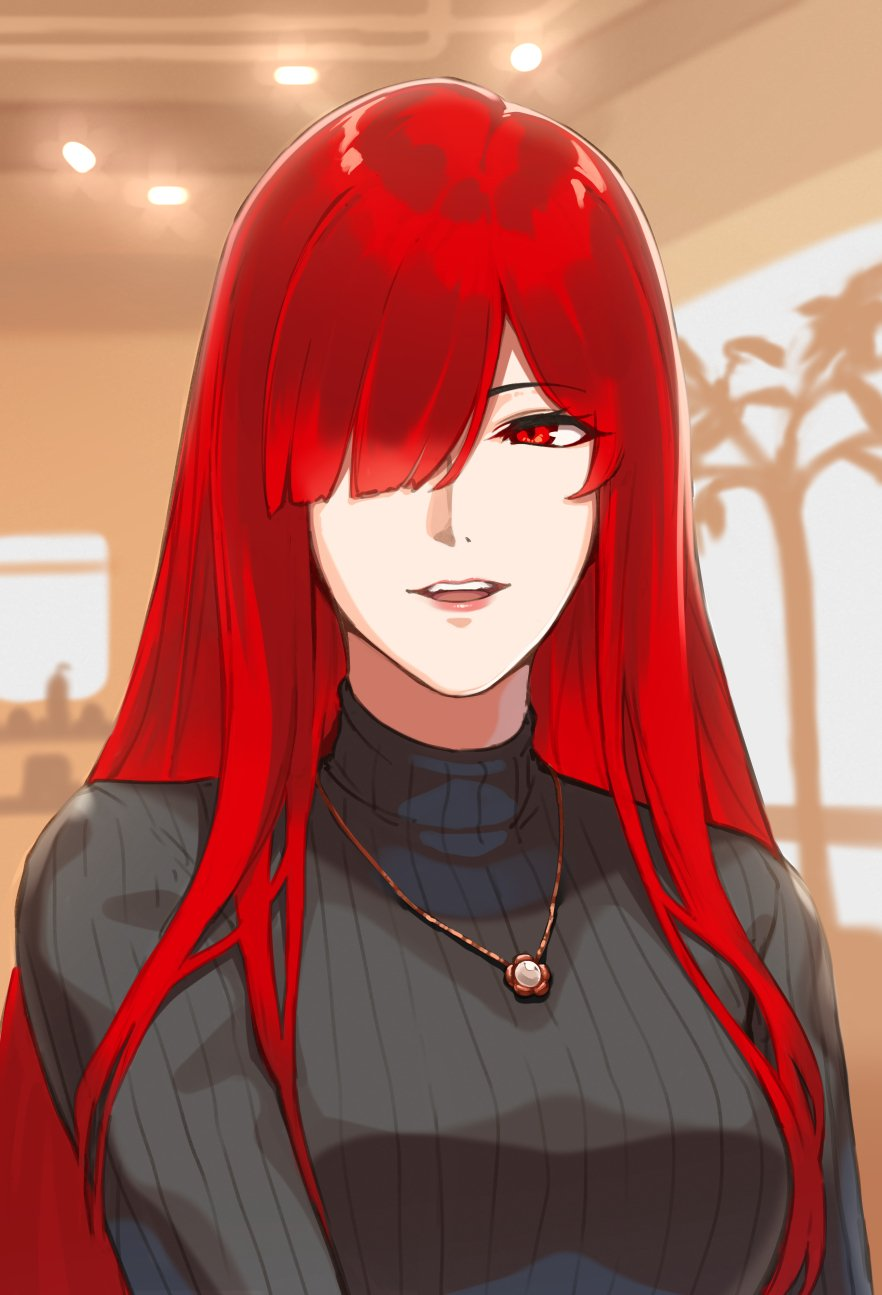 1girl bangs black_sweater blush breasts fate/grand_order fate_(series) hair_over_one_eye highres jewelry large_breasts long_hair long_sleeves looking_at_viewer necklace oda_nobunaga_(fate) oda_nobunaga_(maou_avenger)_(fate) open_mouth pyz_(cath_x_tech) red_eyes redhead ribbed_sweater smile solo sweater turtleneck turtleneck_sweater very_long_hair