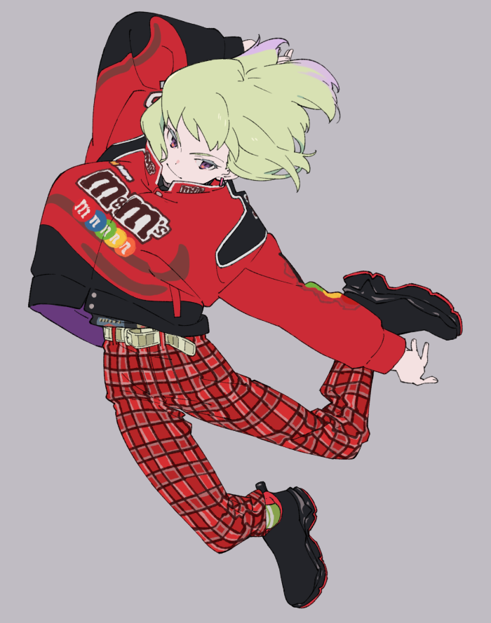 1boy arm_up belt casual contemporary earrings green_hair hair_between_eyes jacket jewelry lio_fotia long_sleeves male_focus pants promare shirikon shirt shoes smile sneakers solo striped striped_legwear violet_eyes