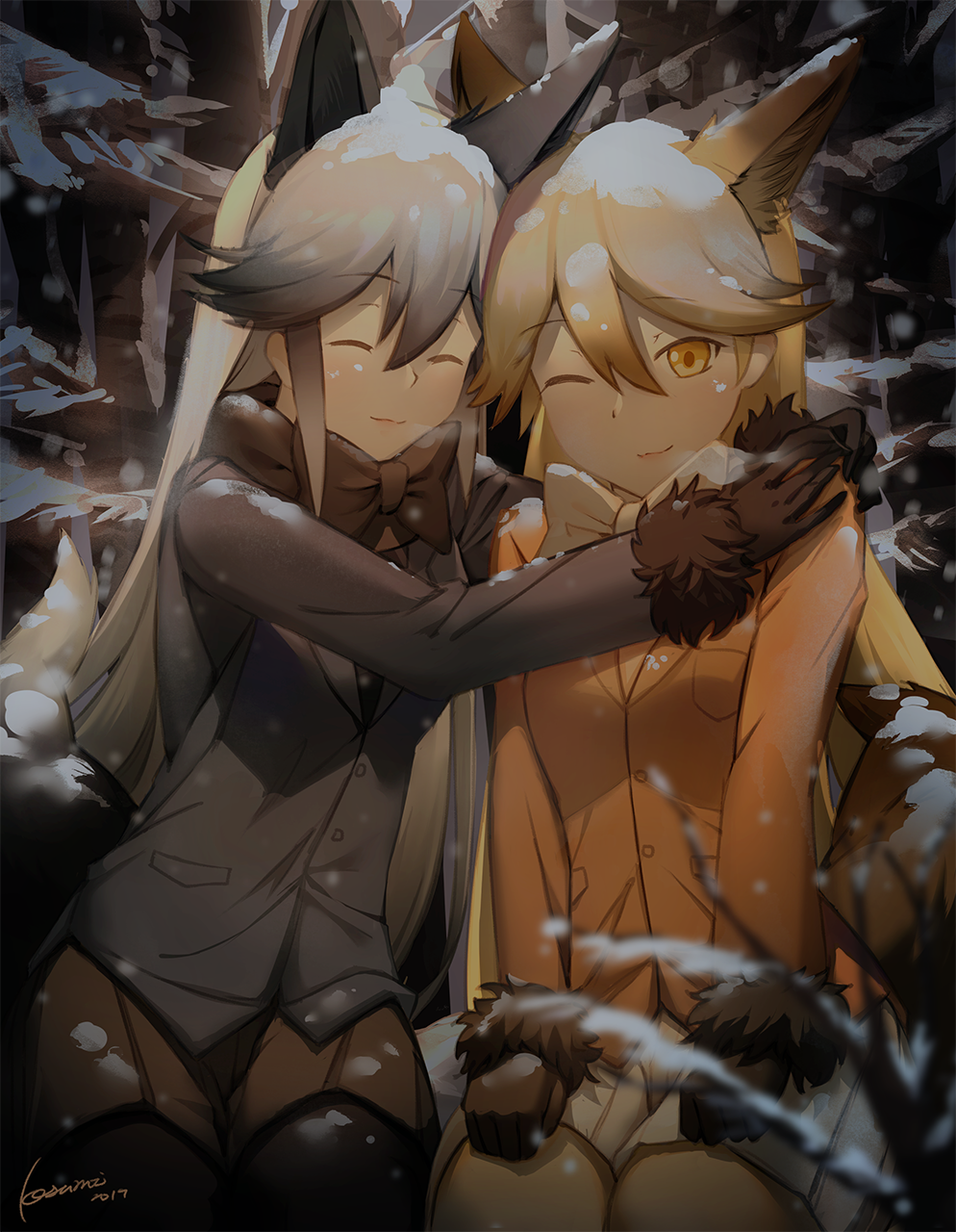 2019 2girls animal_ear_fluff animal_ears bangs black_gloves black_hair black_legwear black_neckwear blonde_hair bow bowtie breath brown_legwear brown_skirt closed_mouth commentary_request eyebrows_visible_through_hair ezo_red_fox_(kemono_friends) fox_ears fox_girl fox_tail fur-trimmed_sleeves fur_trim gloves gradient_hair grey_hair grey_jacket hair_between_eyes highres jacket kemono_friends kosumi long_hair long_sleeves multicolored_hair multiple_girls one_eye_closed orange_jacket pantyhose pleated_skirt signature silver_fox_(kemono_friends) skirt smile snow snow_on_head tail very_long_hair white_neckwear white_skirt