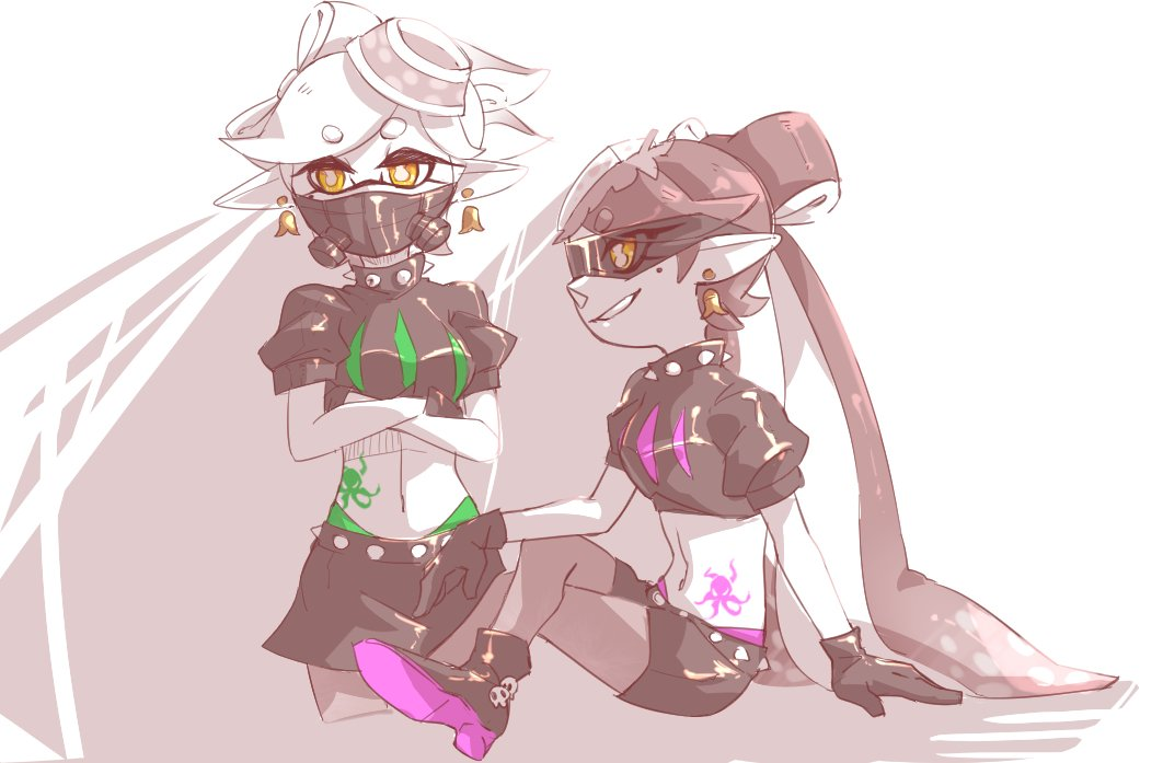ankle_boots aori_(splatoon) arm_support belt black_belt black_collar black_footwear black_gloves black_shorts black_skirt boots brown_eyes cephalopod_eyes chinese_commentary collar commentary_request cousins crop_top cropped_legs crossed_arms crossed_legs domino_mask earrings food food_on_head gloves grey_hair grey_legwear grin hotaru_(splatoon) jewelry long_hair looking_at_viewer madaga_(animaofmoon) mask miniskirt mole mole_under_eye object_on_head octopus pantyhose pointy_ears respirator short_hair short_shorts short_sleeves shorts sitting skirt smile spiked_belt spiked_collar spikes splatoon_(series) splatoon_2 standing stomach_tattoo sunglasses tako-san_wiener tattoo tentacle_hair very_long_hair
