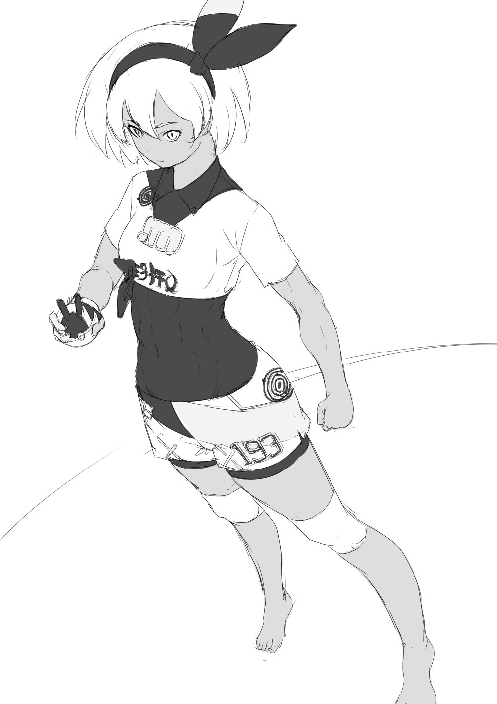 1girl abs barefoot breasts clenched_hand dark_skin greyscale hair_between_eyes hairband highres knee_pads monochrome niwatazumi poke_ball pokemon pokemon_(game) pokemon_swsh saitou_(pokemon) shirt short_hair short_sleeves shorts small_breasts solo tight tight_shirt tight_top