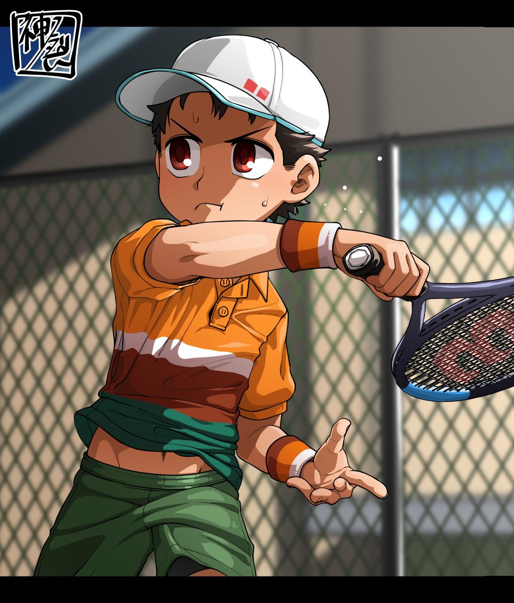 1boy belly_peek brown_hair commentary fence highres kaminosaki1 midriff navel original outdoors red_eyes shoes shorts sneakers sportswear sweatdrop tennis tennis_court tennis_uniform