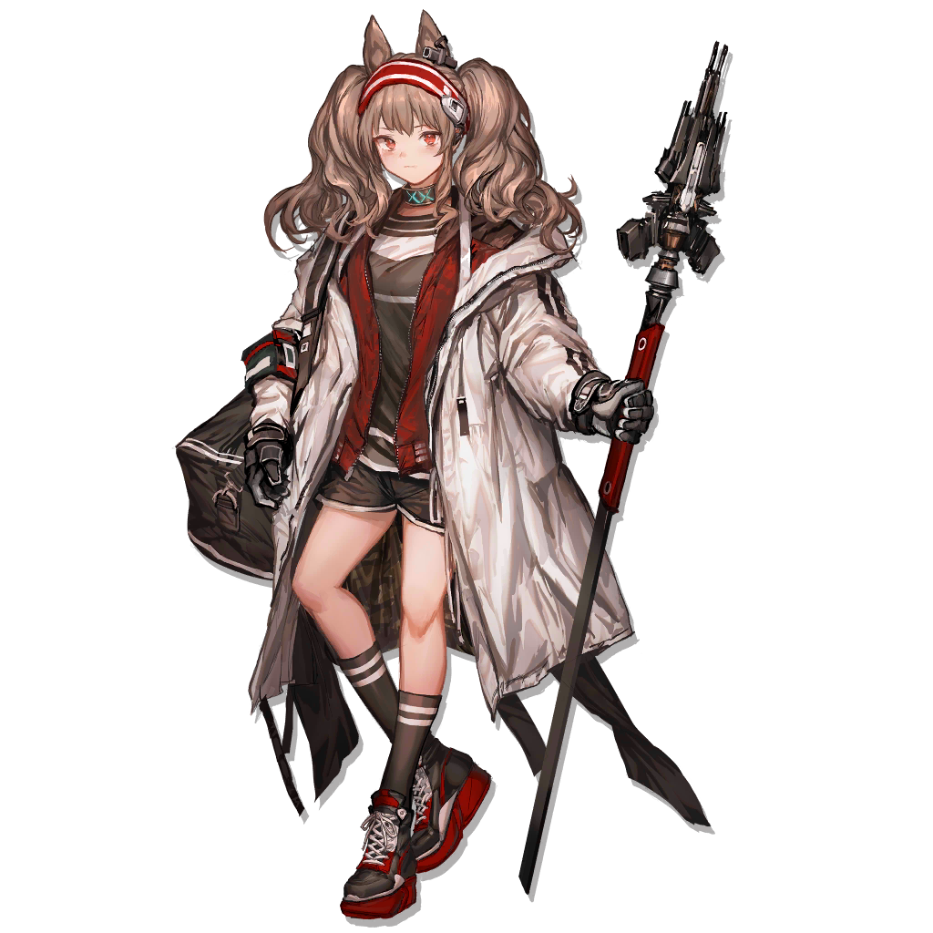 1girl angelina_(arknights) animal_ear_fluff animal_ears arknights bag bangs black_footwear black_gloves black_legwear black_shorts blush brown_hair choker coat duffel_bag eyebrows_visible_through_hair full_body gloves hairband holding holding_staff jacket lace-up_shoes lm7_(op-center) long_hair long_sleeves looking_at_viewer off_shoulder official_art open_clothes open_coat red_eyes red_jacket shirt shoes shorts sidelocks sneakers socks solo staff tachi-e transparent_background twintails unzipped wavy_hair weapon white_coat wolf_ears