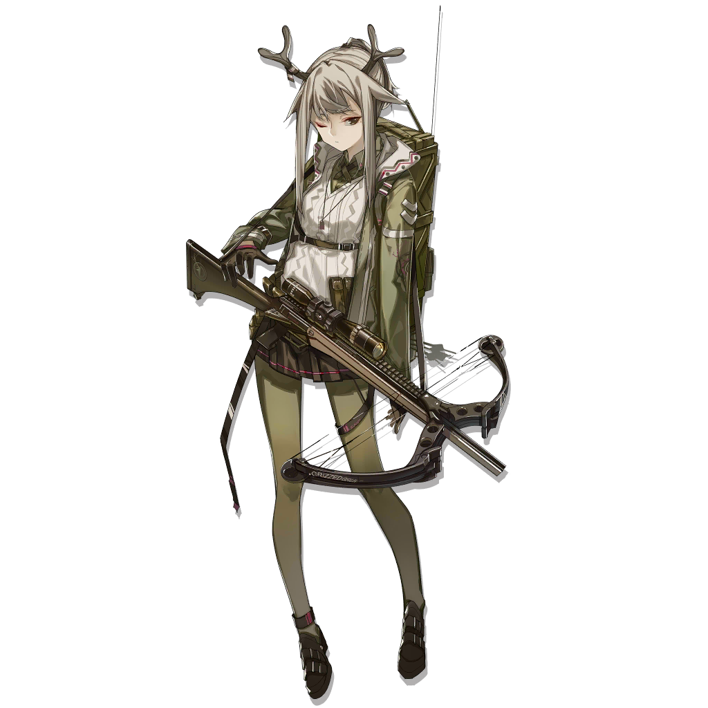 1girl ankle_boots antennae antlers aran_sweater arknights azling backpack bag bangs black_footwear black_gloves black_skirt boots bow_(weapon) breasts closed_mouth collared_shirt crossbow expressionless eyebrows_visible_through_hair eyeliner firewatch_(arknights) full_body gloves green_eyes green_jacket green_legwear green_shirt grey_hair hair_flaps holding holding_weapon hood hood_down hooded_jacket jacket jewelry long_hair long_sleeves looking_at_viewer makeup medium_breasts mole mole_under_eye necklace one_eye_closed pantyhose ponytail shirt short_hair_with_long_locks sidelocks skirt solo sweater tachi-e weapon white_sweater