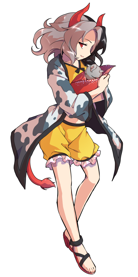 1girl alphes_(style) animal_ears animal_print baby_carry black_hair breasts commentary_request cow_ears cow_horns cow_print cow_tail dairi frilled_shorts frills full_body greek_toe grey_hair haori horns japanese_clothes looking_at_viewer midriff multicolored_hair navel parody profile red_eyes red_footwear sandals shiny shiny_hair shorts smile solo standing style_parody tachi-e tail touhou transparent_background two-tone_hair ushizaki_urumi yellow_shorts