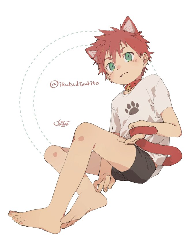 1boy 50off animal_ears barefoot bell bell_collar bike_shorts blush cat_ears cat_tail catboy collar fang feet full_body green_eyes looking_at_viewer male_focus original red_haired_catboy_(ikutsuki) redhead simple_background solo tail twitter_username