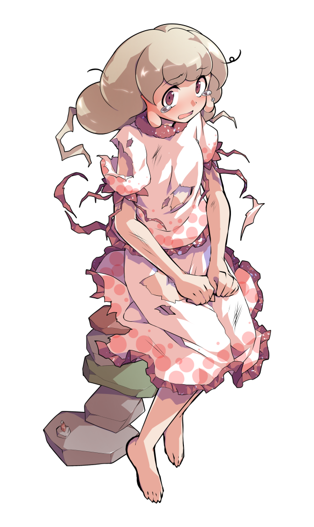 1girl alphes_(style) barefoot blonde_hair blush commentary_request dairi earlobes ebisu_eika eyebrows_visible_through_hair frilled_shirt frilled_skirt frilled_sleeves frills full_body greek_toe hands_on_lap long_hair looking_at_viewer open_mouth parody puffy_short_sleeves puffy_sleeves red_eyes rock rock_balancing shiny shiny_hair shirt short_sleeves sitting skirt skirt_set solo style_parody tachi-e tears torn_clothes torn_shirt torn_skirt touhou transparent_background