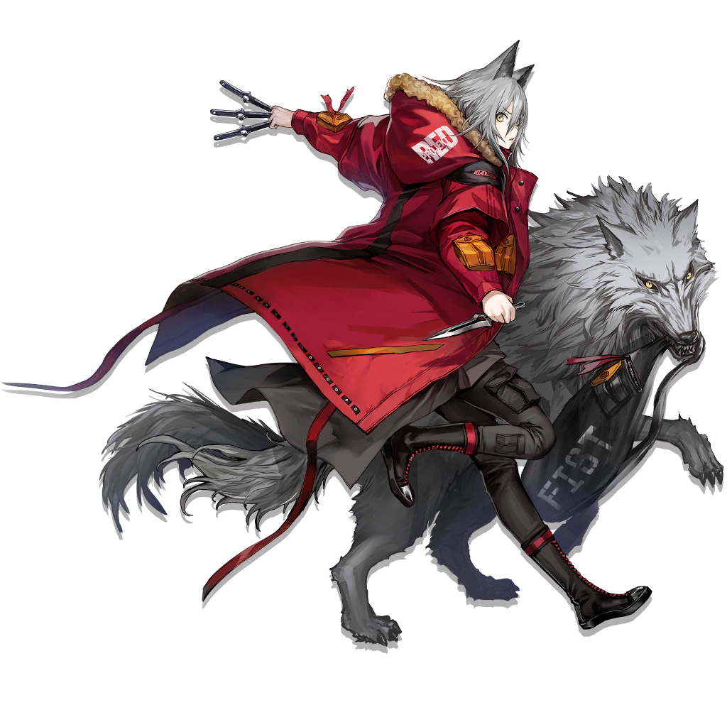 1girl animal_ears arknights bag bangs boots breasts coat cross-laced_footwear dress expressionless full_body fur-trimmed_coat fur_trim grey_dress grey_hair hair_between_eyes holding holding_knife hood hooded_coat hooded_jacket infukun jacket knife lace-up_boots long_hair looking_at_viewer medium_breasts messy_hair official_art open_clothes open_jacket parted_lips projekt_red_(arknights) red_coat red_footwear running shoulder_bag sidelocks solo tachi-e tail throwing_knife transparent_background weapon wolf wolf_ears wolf_tail yellow_eyes