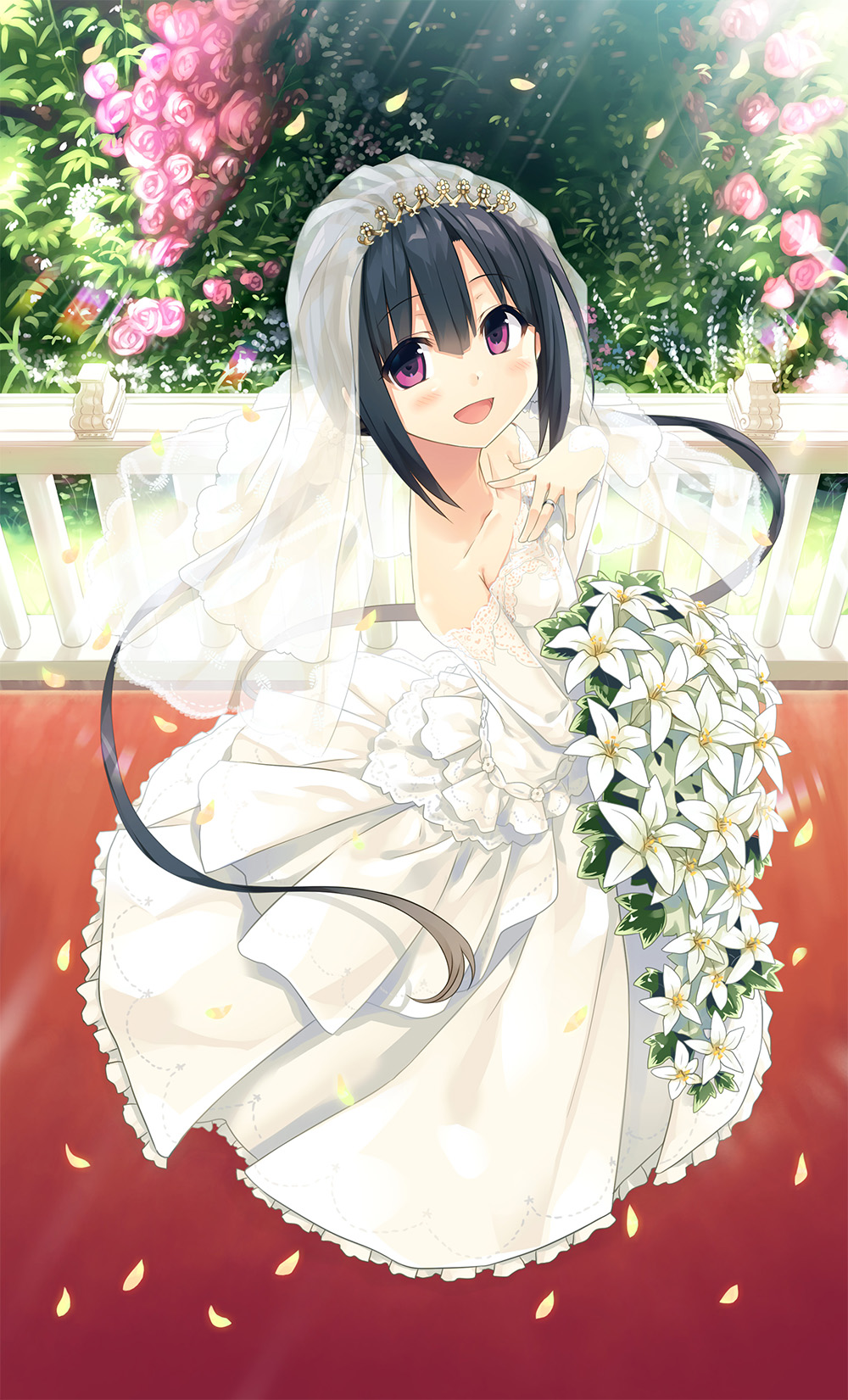1girl :d bangs bare_shoulders black_hair blush bouquet breasts bridal_veil bride collarbone cura detached_sleeves dress eyebrows_visible_through_hair flower frilled_dress frills from_above hair_between_eyes hand_on_own_chest hand_up hayase_fukami highres holding holding_bouquet jewelry light_rays long_hair long_sleeves looking_at_viewer looking_to_the_side maitetsu official_art open_mouth pink_flower pink_rose pleated_dress railing ring rose see-through sidelocks sleeves_past_wrists small_breasts smile solo standing strapless strapless_dress twintails veil very_long_hair violet_eyes wedding_band wedding_dress white_dress white_flower