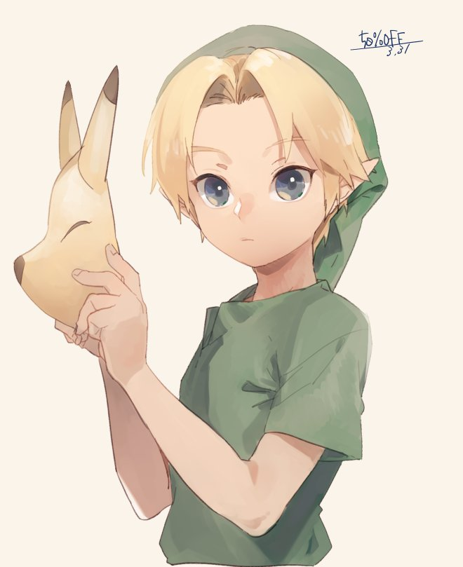 1boy 50off blonde_hair blue_eyes fox_mask hat keaton_mask link looking_at_viewer male_focus mask solo the_legend_of_zelda the_legend_of_zelda:_ocarina_of_time tunic young_link