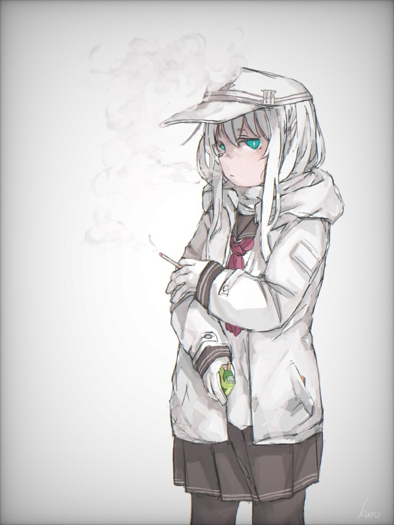 1girl anchor badge bangs black_legwear blue_eyes blush cigarette cigarette_box closed_mouth flat_cap gloves hat hibiki_(kantai_collection) holding holding_cigarette holding_cigarette_box hood hood_down hooded_jacket jacket kantai_collection kuro4221 long_hair long_sleeves looking_at_viewer pocket sailor_collar school_uniform serafuku signature simple_background skirt smoke smoking solo verniy_(kantai_collection) white_background white_gloves white_hair white_jacket