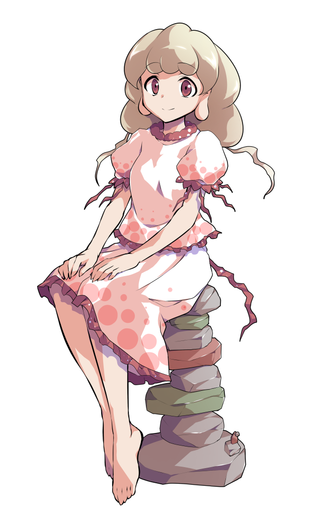 1girl alphes_(style) barefoot blonde_hair closed_mouth commentary_request dairi earlobes ebisu_eika eyebrows_visible_through_hair frilled_shirt frilled_skirt frills full_body greek_toe hands_on_own_knees long_hair looking_at_viewer parody puffy_short_sleeves puffy_sleeves red_eyes rock rock_balancing shiny shiny_hair shirt short_sleeves sitting skirt skirt_set smile solo style_parody tachi-e touhou transparent_background white_shirt