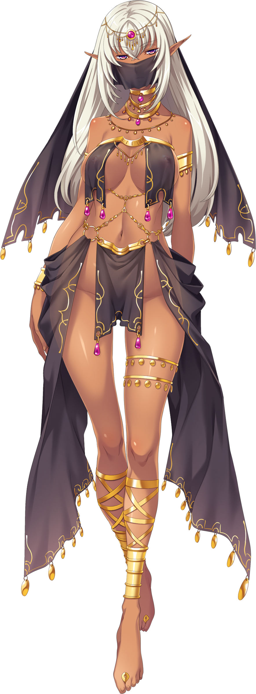 1girl armlet bangs bracelet covered_nipples crossed_bangs dark_skin eyebrows_visible_through_hair full_body highres hikage_eiji jewelry kuroinu_2 long_hair mistiora_arte navel neck_ring nipples o-ring official_art pelvic_curtain pink_eyes pointy_ears revealing_clothes see-through solo thigh_strap transparent_background white_hair