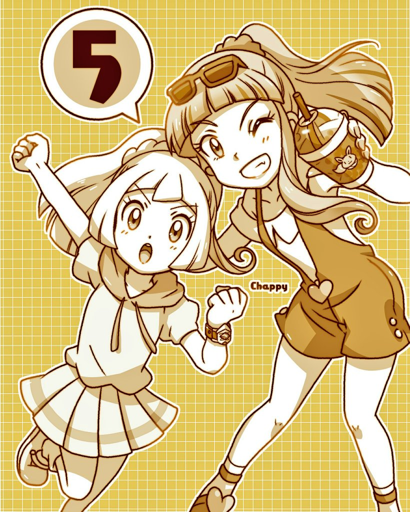 2girls chappy_(kanata218) drink eevee lillie_(pokemon) multiple_girls pokemon pokemon_(anime) pokemon_sm_(anime) risa_(pokemon) skirt z-ring