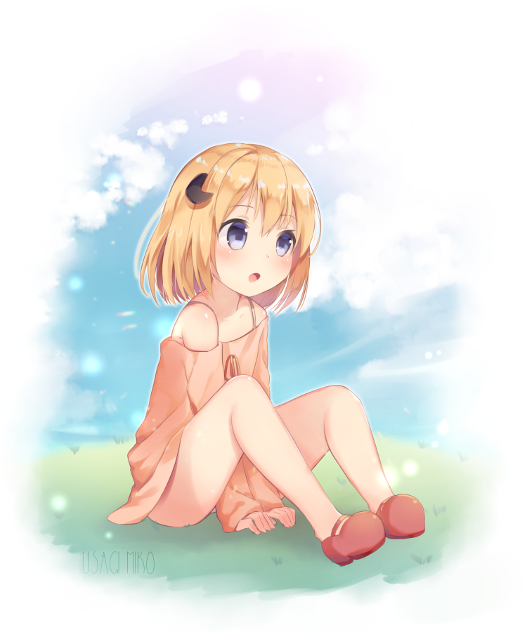 1girl :o bangs bare_shoulders between_legs blonde_hair blue_eyes blue_sky blush brown_dress commentary_request curled_horns day demon_horns dress eyebrows_visible_through_hair full_body grass hair_between_eyes hand_between_legs horns knees_up latina_(uchi_no_musume_no_tame_naraba) long_sleeves looking_away off-shoulder_dress off_shoulder on_grass open_mouth outdoors red_footwear red_ribbon ribbon shoes sitting sky sleeves_past_wrists solo uchi_no_musume_no_tame_naraba_ore_wa_moshikashitara_maou_mo_taoseru_kamo_shirenai. usagimiko