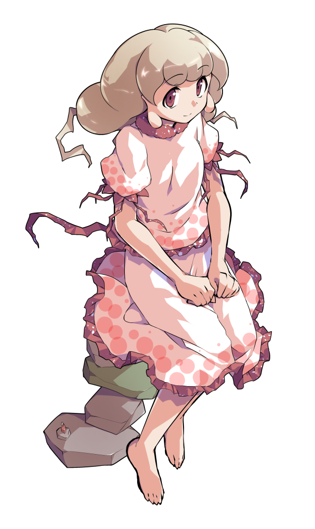 1girl alphes_(style) barefoot blonde_hair closed_mouth commentary_request dairi earlobes ebisu_eika eyebrows_visible_through_hair frilled_shirt frilled_skirt frilled_sleeves frills full_body greek_toe hands_on_lap long_hair looking_at_viewer parody puffy_short_sleeves puffy_sleeves red_eyes rock rock_balancing shiny shiny_hair shirt short_sleeves sitting skirt skirt_set smile solo style_parody tachi-e touhou transparent_background