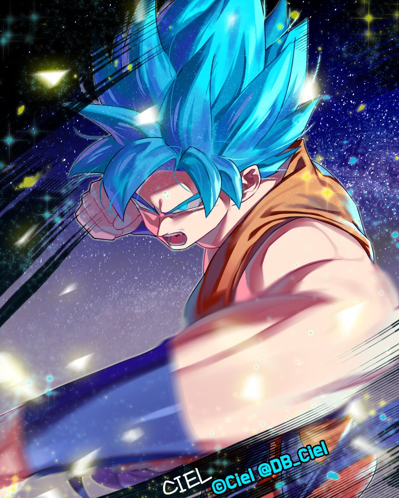 artist_name backlighting blue_background blue_eyes blue_hair blurry blurry_foreground clenched_hand commentary_request d: dark_background dougi dragon_ball dragon_ball_super dragon_ball_z fighting_stance frown glowing glowing_eyes gradient gradient_background korean_commentary muscle open_mouth purple_background serious shaded_face sleeveless sparkle sparkle_background spiky_hair super_saiyan_blue tarutobi teeth twitter_username white_background wristband