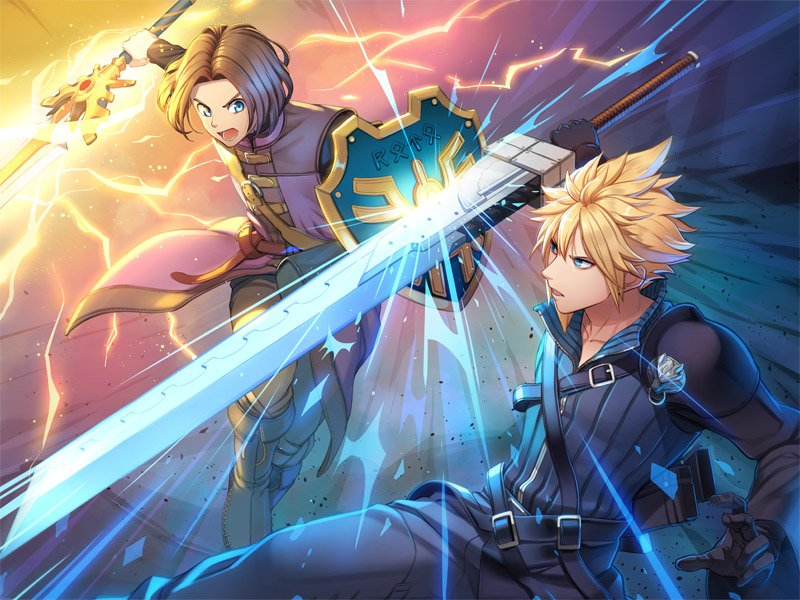 2boys blonde_hair blue_eyes brown_hair buster_sword cloud_strife company_connection dragon_quest dragon_quest_xi earrings final_fantasy final_fantasy_vii final_fantasy_vii_advent_children gloves green_eyes hero_(dq11) hood jewelry male_focus multiple_boys nintendo open_mouth playstation shield short_hair sora_(company) spiky_hair square_enix super_smash_bros. sword toei_animation torio_(mocd1985) weapon