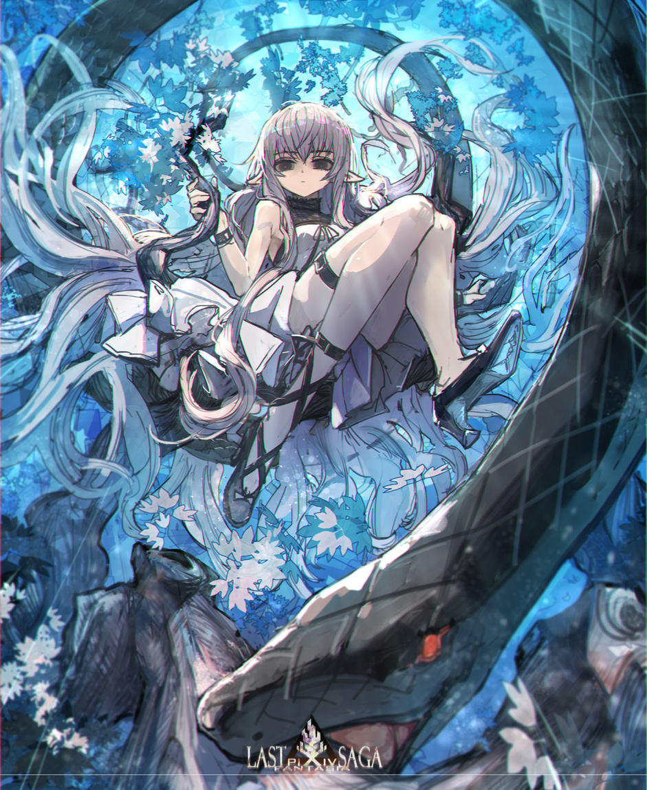 1girl black_eyes black_footwear blue_sky bracelet copyright_name day elf high_heels jewelry julia_(pixiv_fantasia_last_saga) long_hair outdoors pantyhose pixiv_fantasia pixiv_fantasia_last_saga pointy_ears red_eyes ryuuzaki_ichi sitting sky snake thigh_strap tree very_long_hair white_hair white_legwear