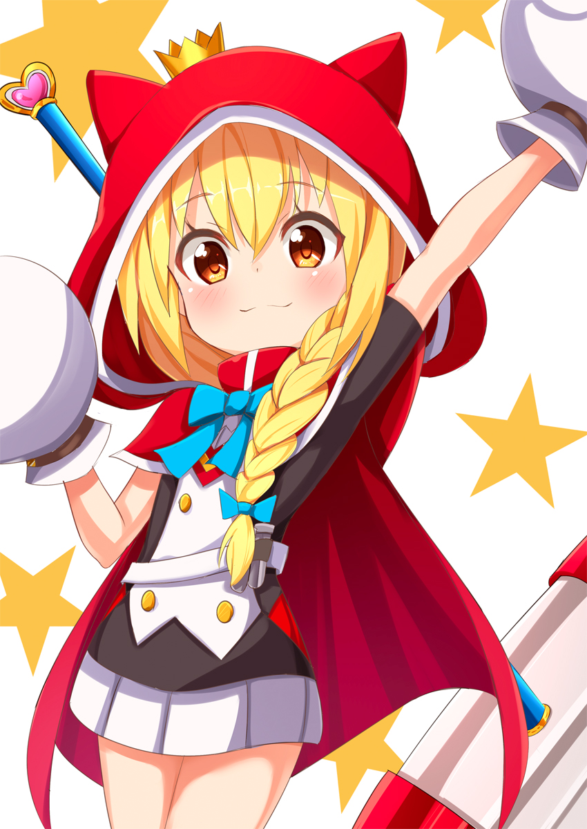 1girl ame. animal_ears animal_hood arm_up bangs black_shirt blonde_hair blush braid cape closed_mouth commentary_request crown eyebrows_visible_through_hair fake_animal_ears hair_between_eyes hair_over_shoulder hammer han-gyaku-sei_million_arthur heart highres hood hood_up hooded_cape long_hair million_arthur_(series) mini_crown mittens outstretched_arm pleated_skirt red_cape red_eyes renkin_arthur shirt short_sleeves simple_background single_braid skirt smile solo star starry_background tilted_headwear weapon weapon_on_back white_background white_mittens white_skirt
