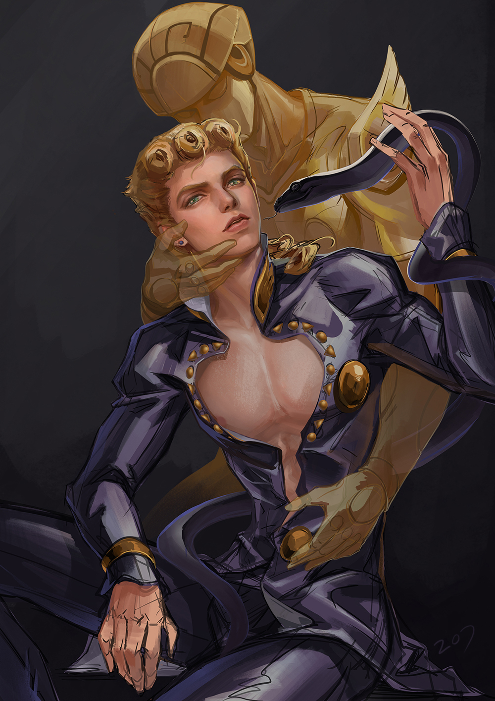 207 2boys blonde_hair giorno_giovanna gold_experience green_eyes highres jojo_no_kimyou_na_bouken male_focus multiple_boys nipple_slip nipples realistic snake stand_(jojo) transparent vento_aureo
