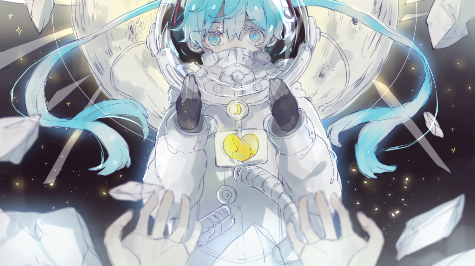 1girl astronaut astronaut_helmet bangs black_gloves blue_eyes blue_hair commentary debris eyebrows_visible_through_hair full_moon gloves hair_between_eyes hatsune_miku heremia long_hair looking_at_viewer moon out_of_frame pov pov_hands solo_focus space spacesuit star_(sky) twintails very_long_hair vocaloid