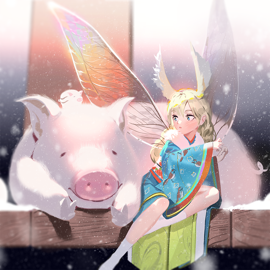 1girl animal_print bird_print blonde_hair blue_eyes blush chinese_zodiac fairy fairy_wings furisode head_wings japanese_clothes karasu-san_(syh3iua83) kimono long_hair looking_back minigirl new_year obi original outdoors pig porch sash sitting snow snowing socks surprised wings year_of_the_pig