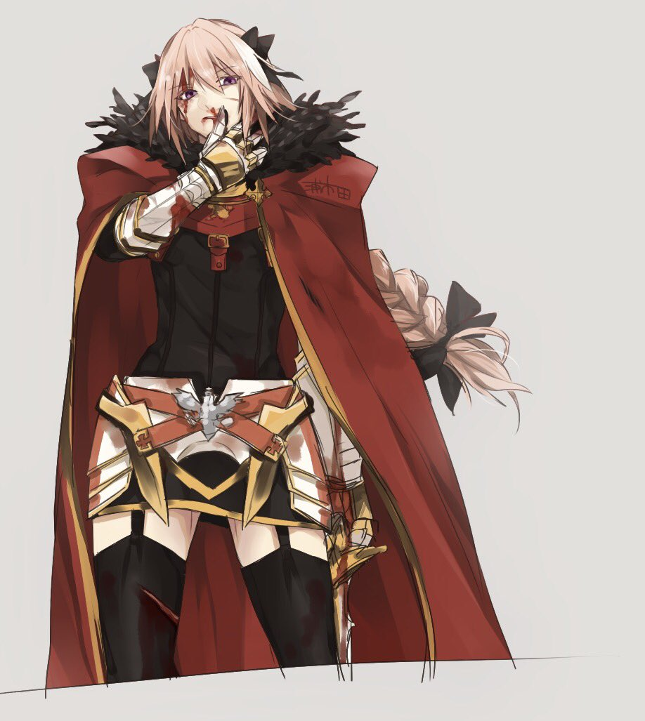 1boy armor astolfo_(fate) belt black_bow black_ribbon bleeding blood blood_from_mouth blood_on_arm blood_on_face bow braid cloak cuts fate/grand_order fate_(series) fur_collar fur_trim garter_straps gauntlets grey_background hair_intakes hair_ribbon injury long_braid looking_at_viewer male_focus multicolored_hair nosebleed pink_hair red_cloak ribbon simple_background single_braid sketch standing streaked_hair u_5ham0 violet_eyes wiping_face wiping_nose