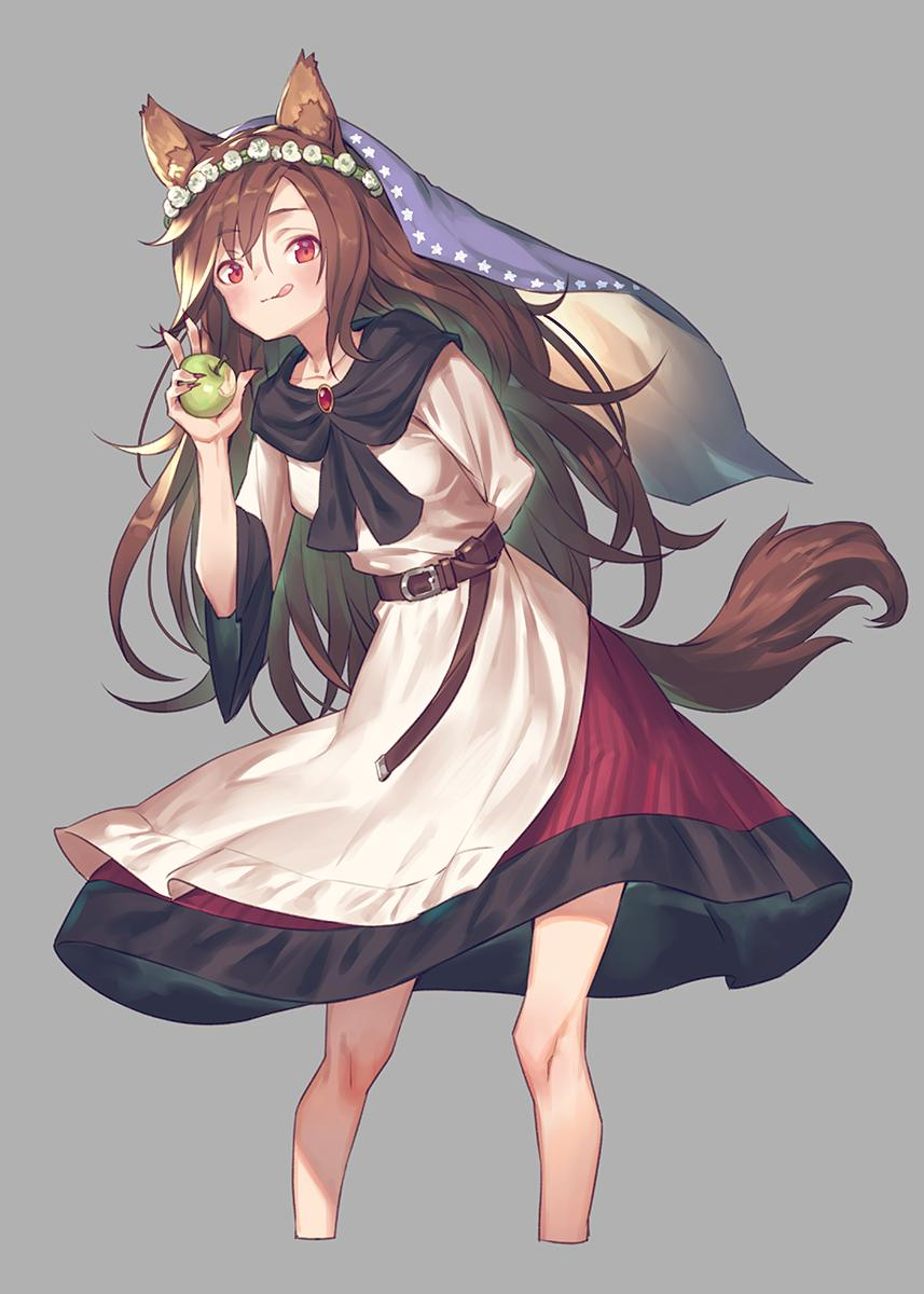 1girl :q animal_ear_fluff animal_ears apple arm_behind_back bangs belt blouse blush brooch brown_belt brown_hair commentary_request cropped_legs eyebrows_visible_through_hair fingernails flower food fruit grey_background hair_between_eyes hand_up head_wreath highres holding holding_food holding_fruit imaizumi_kagerou jewelry leaning_forward long_hair long_sleeves looking_at_viewer nail_polish red_eyes red_nails red_skirt sharp_fingernails sidelocks simple_background skirt solo standing tail tongue tongue_out touhou veil very_long_hair white_blouse white_flower wide_sleeves wolf_ears wolf_tail yamamomo_(plank)