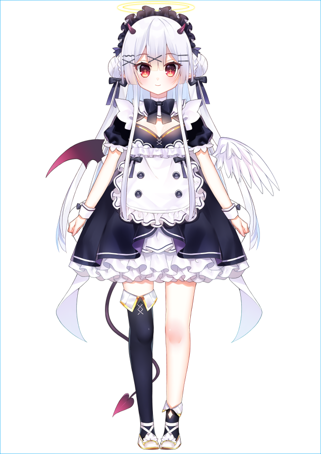 1girl angel apron asymmetrical_legwear bangs black_bow black_dress black_legwear bow braid chihiro_(khorosho) closed_mouth commentary_request demon_girl demon_horns demon_tail demon_wings double_bun dress eyebrows_visible_through_hair feathered_wings frilled_apron frilled_dress frills full_body hair_between_eyes hair_bow hair_ornament hairclip halo horns long_hair mismatched_wings original puffy_short_sleeves puffy_sleeves red_eyes red_wings shoes short_sleeves side_bun silver_hair single_sock single_thighhigh smile socks solo standing tail thigh-highs very_long_hair waist_apron white_apron white_background white_footwear white_wings wings x_hair_ornament