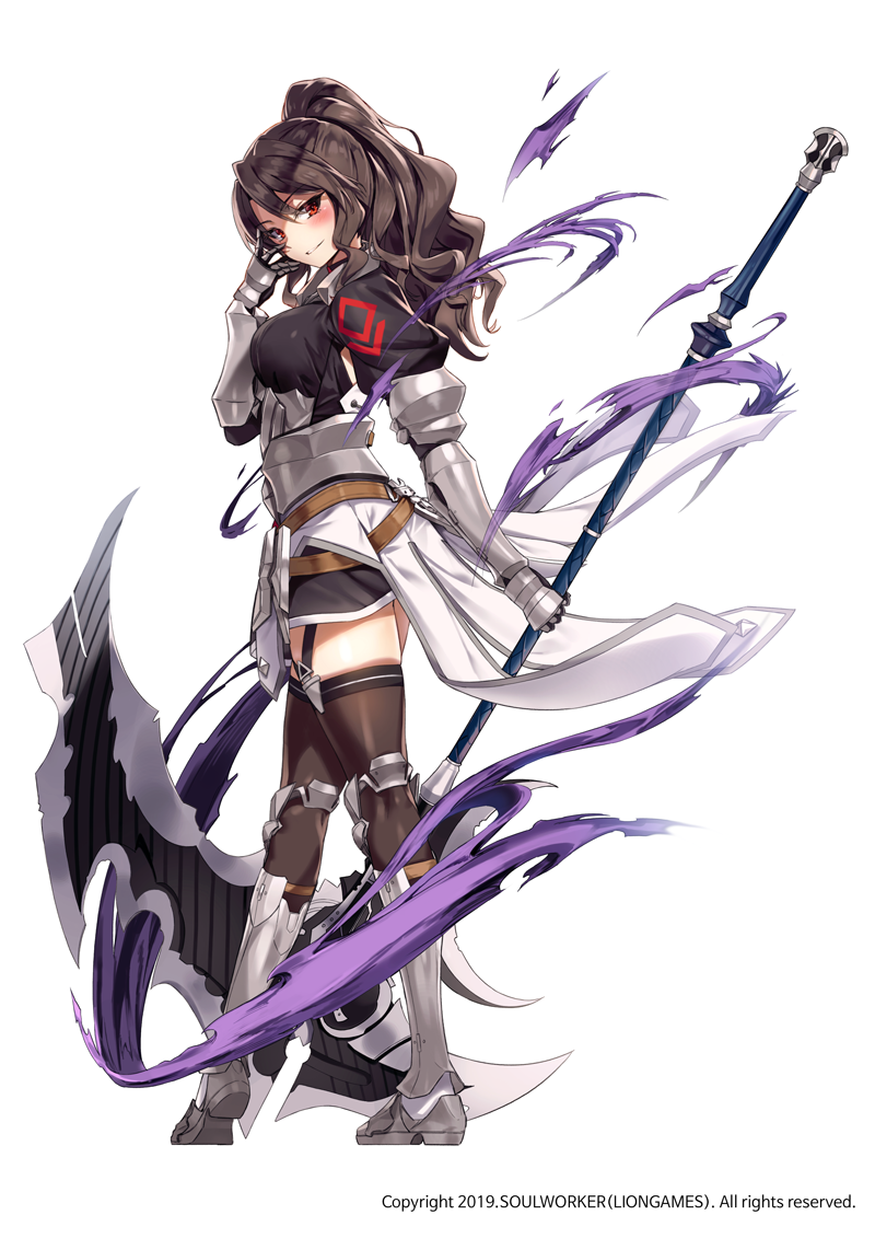 1girl armor armored_boots armpit_cutout black_shirt black_skirt boots breasts brown_hair brown_legwear faulds full_body garter_straps gauntlets hand_up holding holding_scythe knee_boots large_breasts lily_bloomerchen long_hair looking_at_viewer looking_to_the_side miniskirt official_art parted_lips ponytail puffy_sleeves rainmaker red_eyes scythe shirt simple_background skirt smile solo soul_worker standing thigh-highs wavy_hair white_background zettai_ryouiki