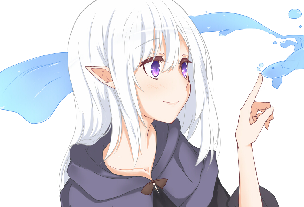 1girl elf eyebrows_visible_through_hair face fish hair_between_eyes index_finger_raised long_hair pointy_ears robe smile solo suu2510 violet_eyes water white_hair
