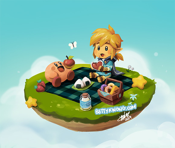 1boy 1other bettykwong blonde_hair blue_cape blue_eyes blue_shirt blue_sky boots bug butterfly cape chibi clouds doughnut eating elf food fruit grass hal_laboratory_inc. hoshi_no_kirby hylian insect kirby kirby_(series) link milk nintendo nintendo_ead onigiri picnic pink_puff_ball shirt silent_princess sky smile star strawberry super_smash_bros. super_smash_bros._ultimate super_smash_bros_64 the_legend_of_zelda the_legend_of_zelda:_breath_of_the_wild